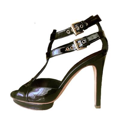 Gianvito Rossi sandali in pelle nera di brevetto