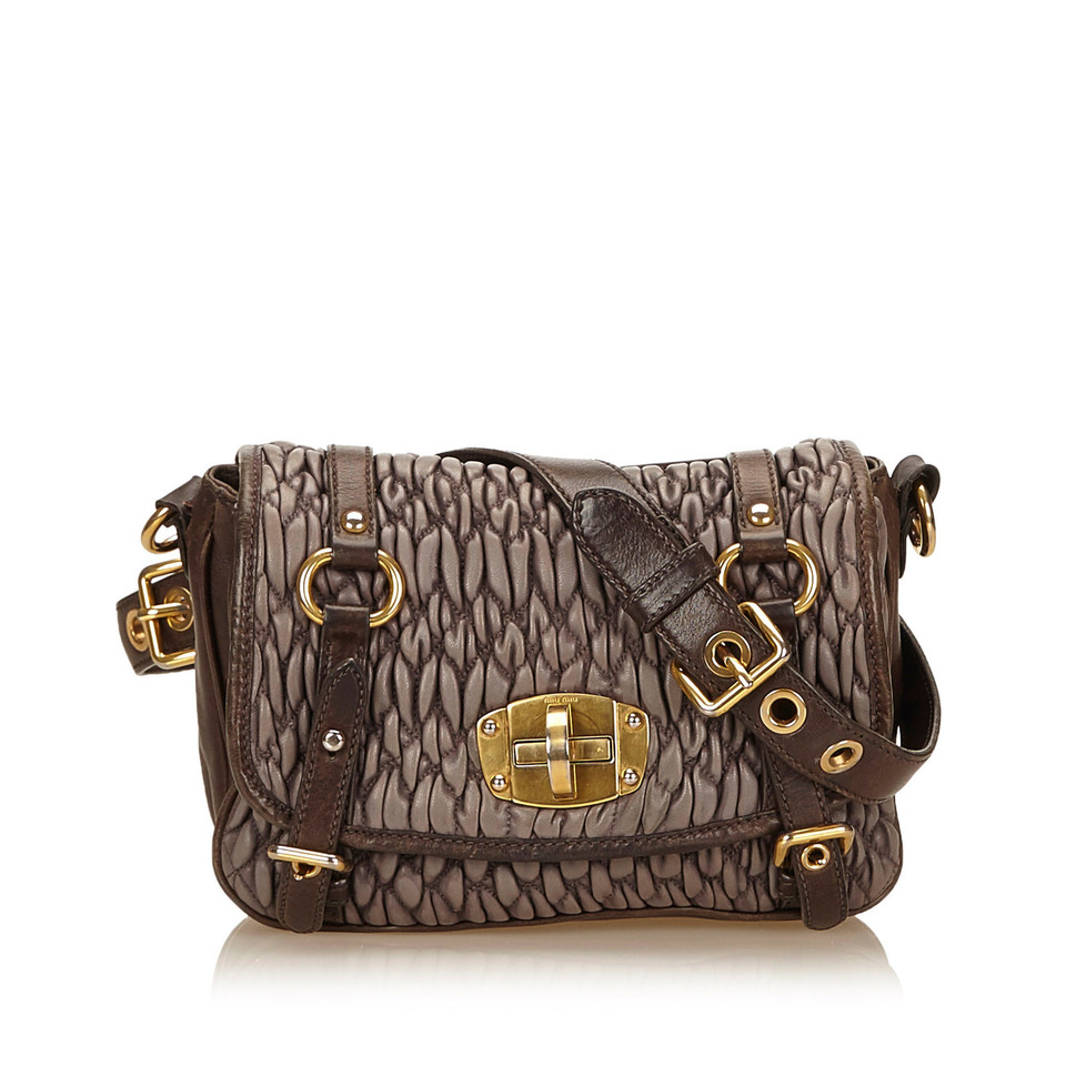 Miu Miu Gathered Leather Shoulder Bag