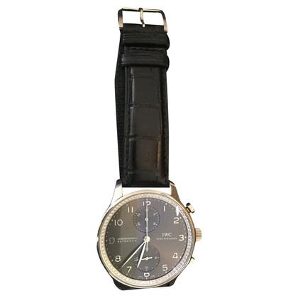 Iwc Weissgold-Uhr mit Krokodillederarmband