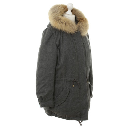 IQ Berlin Grey parka with fur collar