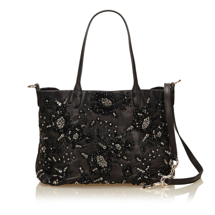 Valentino Leather Beaded Tote Bag