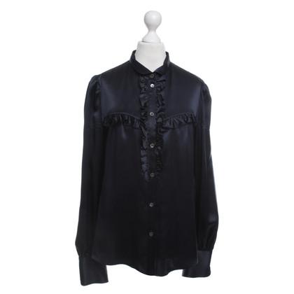 Dolce & Gabbana Donker blauwe zijde blouse