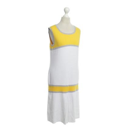 Escada Kleid in Weiß/Gelb/Grau