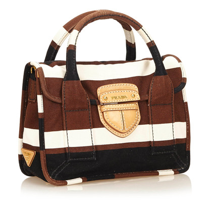 Prada Canapa Stripe Canvas Kleine Pattina