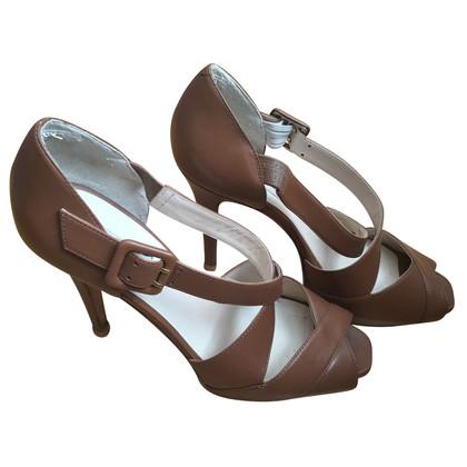L.K. Bennett Peep Toe Leather Sandals