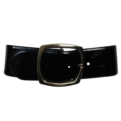 Chanel Black wide cecture leatherette