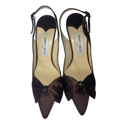 Jimmy Choo Chocolate satin sling back heels