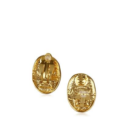 Chanel Gravierte Gold-Tone Clip-On Ohrringe