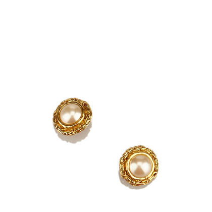Chanel Faux Pearl Goud-Tone Clip-On Oorbellen