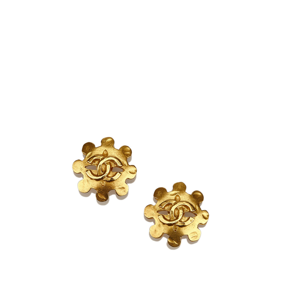 Chanel Goldtone Cc Clipon Earrings