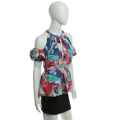 Chanel Silk-Top with multicolor print