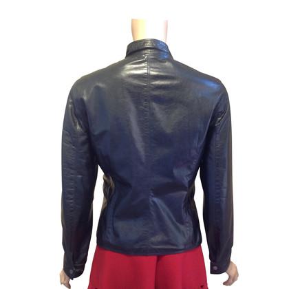 Jil Sander Leren jas in donkerblauw