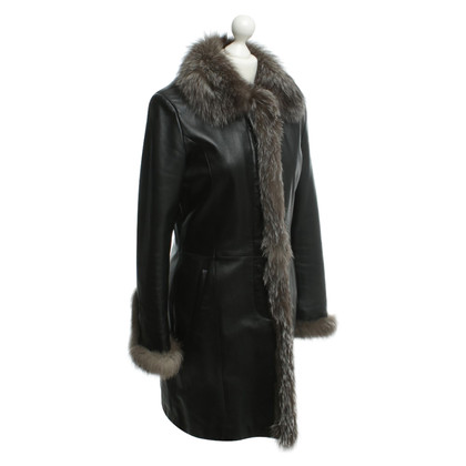 Other Designer Leonardo - leather coat with fur collar