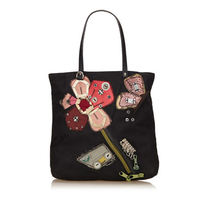 Prada Embroided Nylon Tote Bag