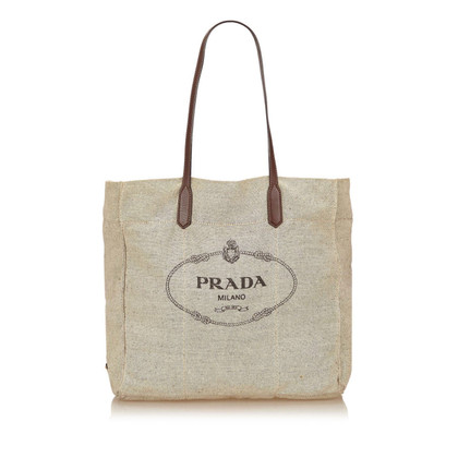 Prada Logo Canvas Tote Bag