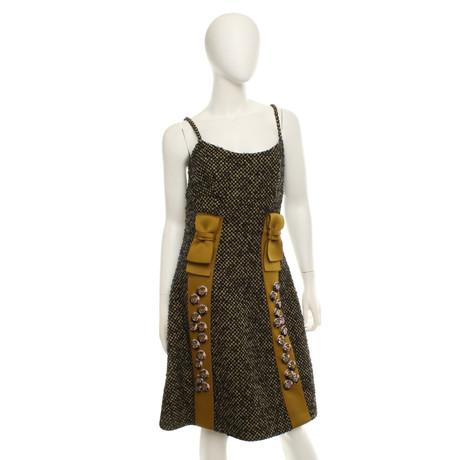Muster Schmucksteinen Prada mit Prada Kleid mit Muster Prada Bunt Kleid Schmucksteinen Bunt BFxAXnqz