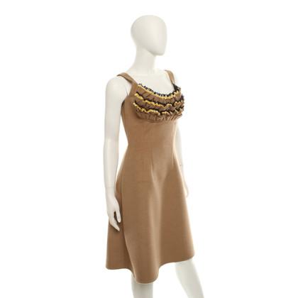 Prada Camel colored dress with felt