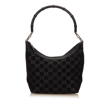 Gucci Cbdb0402 Suede Bamboe Schouder tas