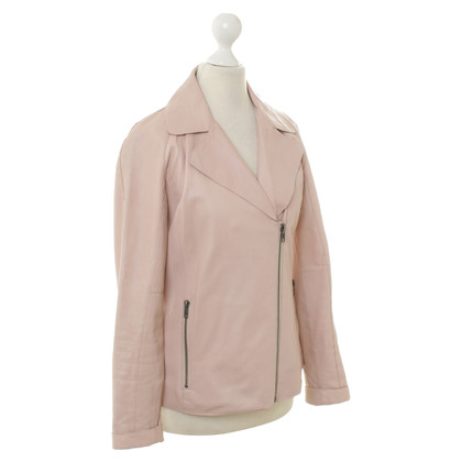 Reiss Leather Blazer in Rosé