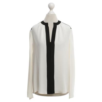 Derek Lam Zijden blouse in wit / zwart