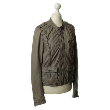 Rich & Royal Leather jacket in Taupe
