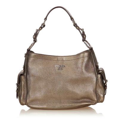 Prada Metallic Leather Shoulder Bag