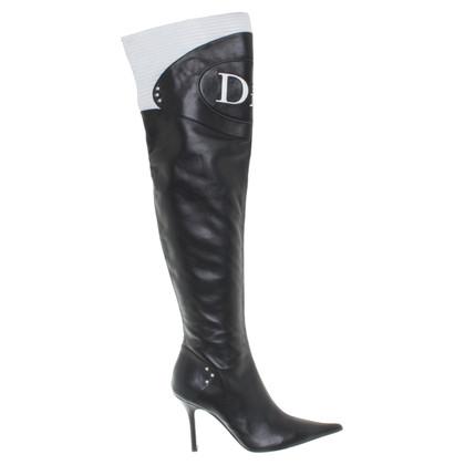 Christian Dior Overknees in Schwarz/Weiß