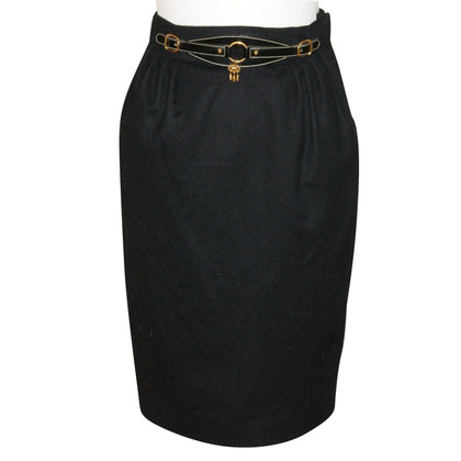 Hermès Black Wool Skirt