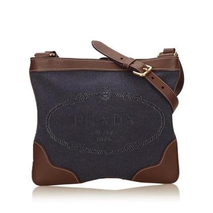 Prada Embroided Logo Jacquard Shoulder Bag