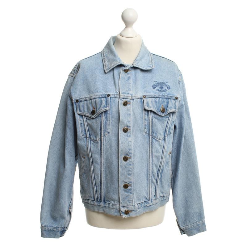 Armani jeans giubbotto pelle blu