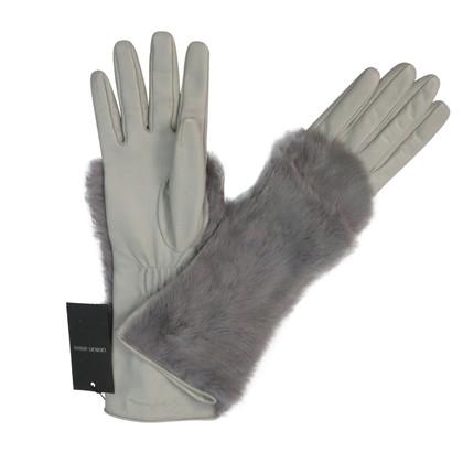 Giorgio Armani Leren handschoenen met bont