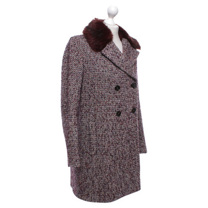 French Connection Tweed coat with woven fur collar