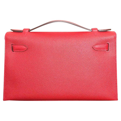 "Hermès ""Kelly Clutch"" 20 Epsom Red Shell GHW"""