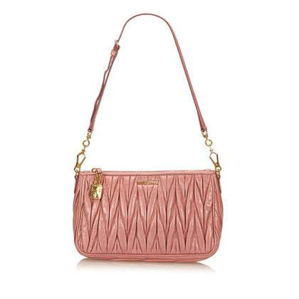Miu Miu Gathered Leather Shoulder Bag