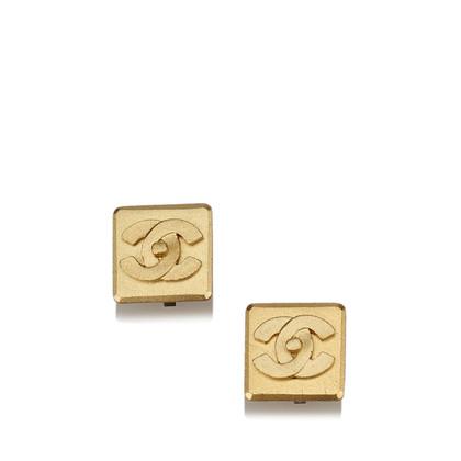 Chanel Gold-Ton CC Clip auf Ohrringe