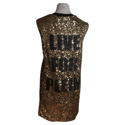 Philipp Plein Golden sequin dress heart motif