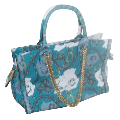 Karl Lagerfeld Emerald blue leather bag floral pattern