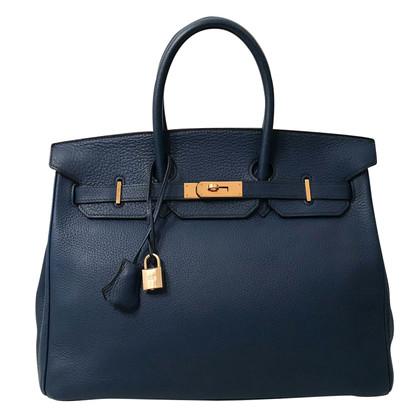 Hermès Birkin Bag 35 bleu avec du matériel d'or
