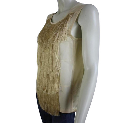 Dries van Noten Silk fringe top in light yellow