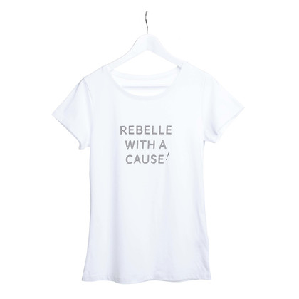 "REBELLE Liefdadigheid T-shirt ""Rebelle With A Cause"""