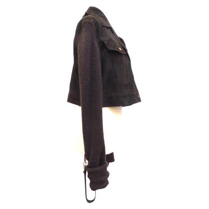 Christian Dior Leren jack met gebreide mouwen