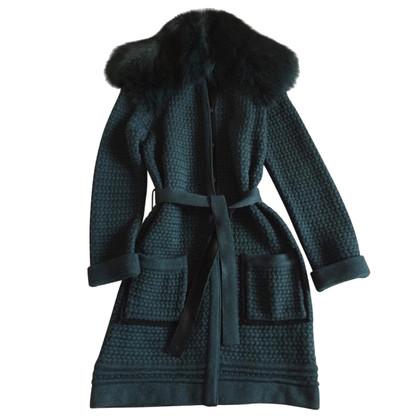 Roberto Cavalli Emerald coat with fox 42 IT