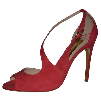Rupert Sanderson  Jewel Red Suede High Heel Sandals