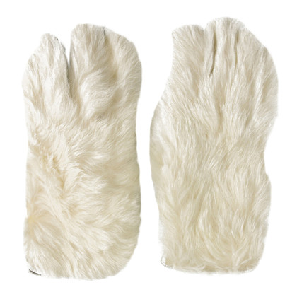 Dolce & Gabbana White Fur and Silver Leather Gloves