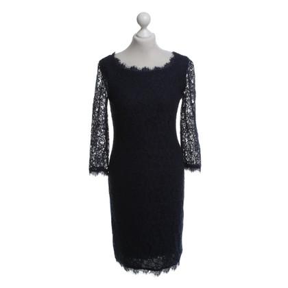 Diane von Furstenberg Kanten jurk in Blauw
