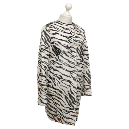 Max Mara cappotto di pelle di capra in bianco / nero