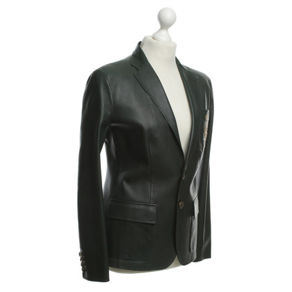 Ralph Lauren Dark green leather Blazer