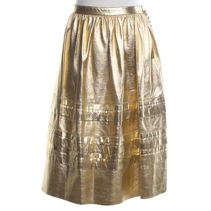 Prada Leather skirt in gold