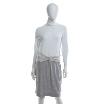 Marc Cain Jersey dress in white / grey / beige