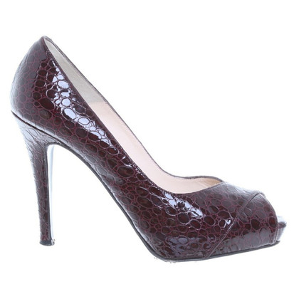 L.K. Bennett Burgundy Snakeskin Leather Peep Shoes